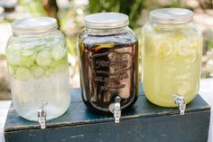 Hydrate your guests with glass jugs filled with your favorite country refreshments.