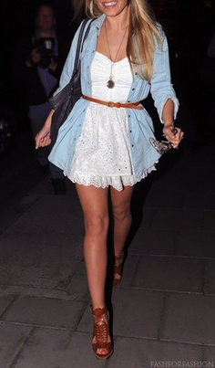 Belt a dress with a denim shirt & add chunky wedges/heels
