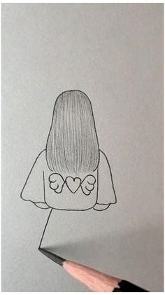 Easy Doodles Drawings, Girl Drawing Sketches, Cute Easy Drawings, Art Drawings Beautiful, Girly Drawings, Art Drawings For Kids, Art Drawings Sketches Simple, Pencil Art Drawings, Girl Drawing Easy