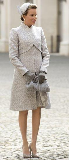 Beautiful coat and hat worn by Belgian royalty, Queen Mathilde of Belgium in Rome.