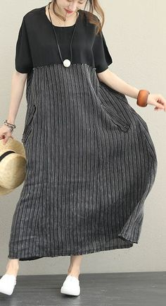 women black silk linen dress plus size clothing O neck patchwork silk linen gown Elegant short sleeve pockets dress Woman Black Silk Linen Dress Plus Size Clothing O Neck Patchwork Silk Linen Dress Elegant Short Sleeve Pocket Dress Trendy Dresses, Simple Dresses, Elegant Dresses, Women's Dresses, Nice Dresses, Casual Dresses, Short Dresses, Flowing Dresses, Dress Long