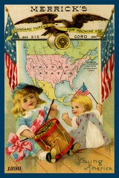 Patriotic Sewing - 1890 Trade Card. Quilt Block printed on cotton. Ready to sew. Single 4x6 block $4.95. Set of 4 blocks with free Wall Hanging Pattern $17.95.