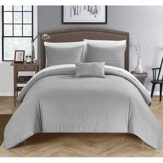 Chic Home 8-Piece Kingston Super Soft Microfiber Stitch Embroidered King Bed In a Bag Duvet Set Grey With White Sheets included, Gray