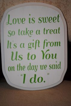Wedding Candy Buffet Signs | Another small sign for a ring bearer to carry in a wedding