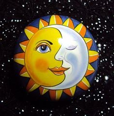 Rock Painting~ Sun/Moon by jacquelyn Art Painting, Moon Art, Rock Painting Designs, Painting, Moon Painting, Sun Art, Art, Painting Crafts
