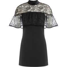 Self-Portrait Line Lace Dress (1 195 PLN) ❤ liked on Polyvore featuring dresses, black, lace sleeve cocktail dress, lace cocktail dress, sheer mini dress, sheer dress and long-sleeve mini dress