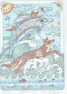 Fox Coloring Page, Adult Coloring Pages, Colouring, Coloring Books, Mandala Coloring, Color 2, 2 Colours, Dolphins, Paint Colors