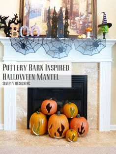 Pottery Barn Inspired Halloween Mantel.  Love the flame pumpkins.  I now will have a fireplace to di this.