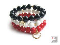 Kulki Sznurki - luksusowa biżuteria handmade z możliwością personalizowania.  www.facebook.com/...  bransoletki z zawieszkami  zestaw na dzień kobiet, na walentynki, na  święta. Pomysły na prezent #jade #seashell #red #white #black #black&white #onyks #onyx #blackstone #kulkisznurki #walentynki #bransoletki #zawieszki #prezenty #bracelets #valentinesday #stretchbracelets #dzienkobiet  #heart #serce #love #gold #star #gwiazdka #naszczescie
