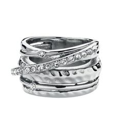 Statement making good looks are the signature style of Dyrberg Kern. And this stunning cocktail ring has it in abundance. Multiple bands sprinkled with shimmering crystals add stand out glamorous style to any woman who wears it. Wedding Rings For Women, Rings For Men, Made Goods, Signature Style, Cocktail Rings, How To Memorize Things, Silver Rings, Women Jewelry, Nyc