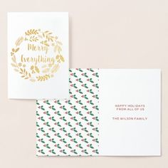 Customizable Holly Berry Pine Wreath Merry Everything Holiday Foil Card #christmas #xmas #holidays Paper Envelopes, White Envelopes, Holiday Greeting Cards, Colored Paper, Zazzle Invitations, Paper Texture, Smudging, Happy Holidays, Berries