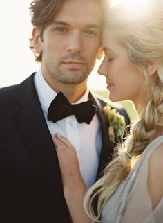 - Repinned by Prindler Productions -  tie, bowtie, groom, black, bride ... Mag Rouge Photo Shoot from Jose Villa