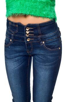 High waist jeans mit knopfleiste