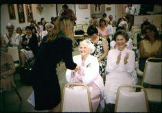 Victoria deLilla, M.Ed.(left) greets Dr. Elizabeth Caspari who worked with Montessori in India - at the Miami Eden Roc, AMS Conference 1994. Victoria was a guest speaker.