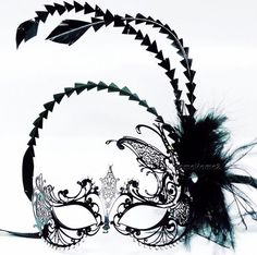 Venetian Laser-cut Metal Black Costume Mask w Feather Halloween Masquerade Party