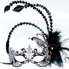 Venetian Laser Cut Metal Black Costume Mask w Feather Halloween Masquerade Party | eBay