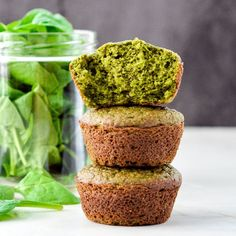 Spinach Banana Muffins! Gluten-free, dairy-free & refined sugar free! An easy, healthy, freezer-friendly breakfast recipe full of fruit and veggies!
