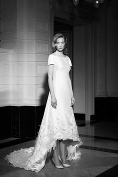High Low Gown, Lace Gloves, Bridal Fashion Week, Lovely Dresses, Bridal Collection, A Line Skirts, Cap Sleeves, One Shoulder Wedding Dress, Glamour
