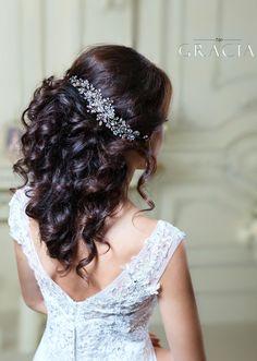 Crystal hairpiece Rhinestone headpiece Bridal Hair Jewelry Bridal Headband Vine by TopGracia