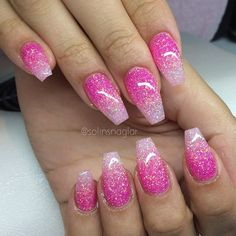27 Ideas For Manicure Pink Glitter Bling Acrylic Nail Designs Glitter, Gold Glitter Nails, Pink Nail Designs, Sparkle Nails, Glitter Eyeshadow, Bling Nails, Dark Pink Nails, Pink Ombre Nails, Pink Acrylic Nails