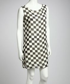 Take a look at this Black Checkerboard Shift Dress by Point Fashion on #zulily today!