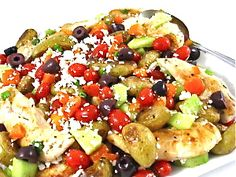 Greek-Style Chicken and Roasted Potatoes, Low Calorie and Bursting with Flavor...It's chock full of healthy ingredients thanks to using lean chicken breasts, nutritious Greek salad salsa, tossing in a tasty reduced-fat salad dressing and topping with fat-free feta cheese. The skinny for 1 serving is 288 calories, 6 grams of fat and 7 Weight Watchers