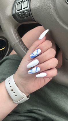 White and blue marble coffin nails