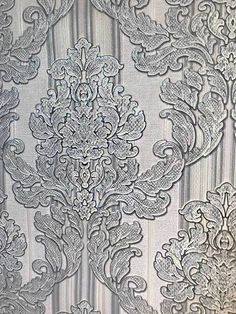 paper Wallpaper old Vintage damask gray textured Paper Wallpaper, Vinyl Wallpaper, Wallpaper Roll, Color Tones, Living Room Tv, Basements, Taking Pictures, Damask, Living Room Designs