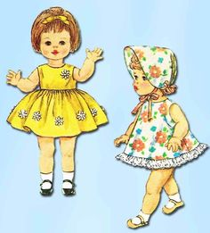 "1960s Vintage Simplicity Sewing Pattern 4839 Easy 15"" Walking Baby Doll Clothes"