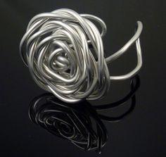 Love That! Rose Bud Shape Handmade Bangle Recycled Aluminum Bracelet Square  #Handmade #Bangle #lovethat