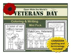 English Coloring & Writing Remembrance / Veterans Day Mini Pack from Open Wide the World on TeachersNotebook.com -  (9 pages)  - Observe Veterans Day / Remembrance Day in your classroom with this mini pack of coloring sheet, writing papers, and a bubble map.