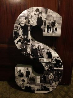 DIY Photo Gift: for Christmas, Mother's Day, Birthday, Holiday. I did the first letter of their last name and put a collage of photos together I took of them in this step by step tutorial.