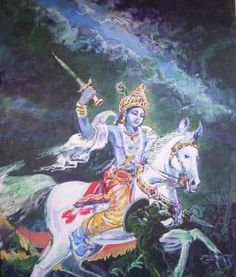 Lord Kalki is the tenth and final re-incarnation of Lord Vishnu who is not yet born. Lord Kalki is the protector of the good and righteous.