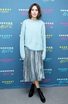 On Alexa Chung: Loewe Metallic Pleated Skirt(£1195). Style Notes: For a versatile look that'll work at breakfast or dinner? Take one metallic pleated skirt, add some sleek leather...