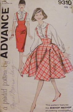 1950 Teenage Clothing | ... Teens Jumper with skirt options CUTE (1950s pattern) Size 12, Bust 32