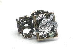 Sea turtle locket ring :)