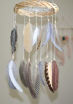 Woodland Nursery Decor, Baby Boy Girl Mobile, Woodland Dreamcatcher Baby Mobile, Native American Style Decor, Woodland Feather Nursery Decor