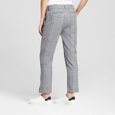 Women's Straight Leg Plaid Slim Fit Pants - A New Day Gray 18