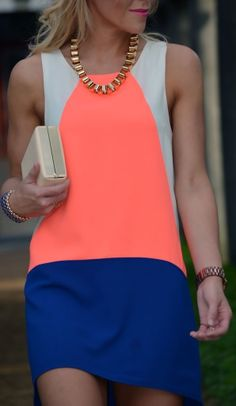 Neon Colorblock Shift Dress // JAWDROPPING GORGEOUS!!! doesn't even need a thin belt like many shifts do