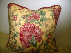 French Country Accent Pillow Rustic Red Floral Front by Pillowinno, $45.00
