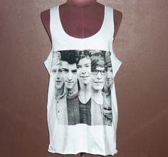 Image of Size M Tees Boy Band T Shirt One Direction Tank Tops Screen Print Shirt Women Wear