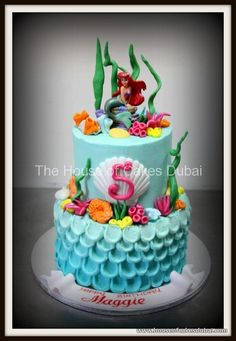 Ivy wants this one for her birthday Little Mermaid Birthday Cake, 5th Birthday Cake, Little Mermaid Cakes, Birthday Ideas, Princesa Ariel Da Disney, Sirenita Cake, Ariel Cake, Sea Cakes, Just Cakes
