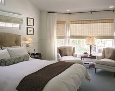 Window Treatments - note window shades are recessed and the small window above the headboard..cool
