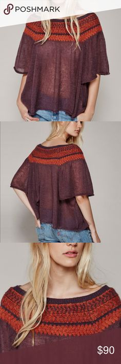 Free People LockLomand Sweater Lightweight sweater with and off the shoulder silhouette and semi sheer fabrication. Wide femme flared sleeves. Tribal inspired print along the neckline. Free People Sweaters
