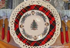Christmas Table Setting with a Christmas Tree Theme; I love the bells on these Spode dishes!