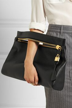 Tom Ford | Alix medium textured-leather clutch | NET-A-PORTER.COM