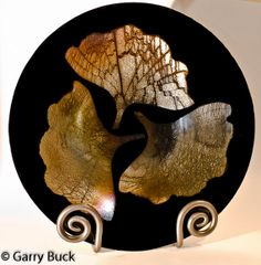 Just wow Ginkgo Series Triple Gold Leaves on Black fused glass, 12 inch bowl by TwoOfArts, $275.00