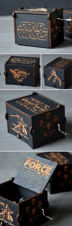 Awesome Star Wars music box. This would make the perfect custom gift for my boyfriend. #commissionlink #starwars #musicbox #geek #giftidea