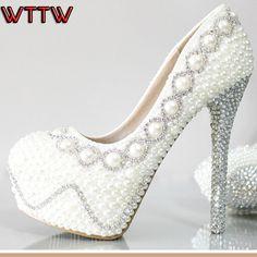 2015 caliente hechos a mano zapatos de boda rhinestone perla crystal tacones altos zapatos de novia para mujer blanco plataforma mujeres zapatos de fiesta(China (Mainland))