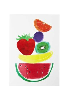 Add a pop of colour and fun to any room of the house with this super stylish Fruit Balance print by Poppies For Grace!  Designed in Melbourne by the phenomenal ladies of Poppies for Grace!  Archival, acid free art and printed on white linen.  Size: A4 - 210MM x 297MM - fits standard A4 frames
